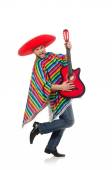 Funny mexican with guitar isolated on white — Stock Photo
