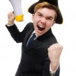 Young man in costume with pirate hat and megaphone isolated on w — Foto Stock #73154549