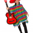 Mexican in vivid poncho holding guitar isolated on white — Stock Photo #73154931