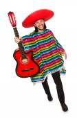 Mexican in vivid poncho holding guitar isolated on white — Stock Photo