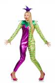 Woman wearing clown costume isolated on white — Stock Photo