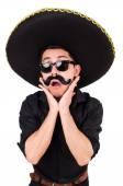 Legrační muž v mexické sombrero klobouk izolované na bílém — Stock fotografie