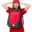 Pretty girl with backpack isolated on white — Stock Photo #73520273