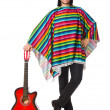 Mexican in vivid poncho holding guitar isolated on white — Stock Photo #73520661
