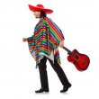 Mexican in vivid poncho holding guitar isolated on white — Stock Photo #73520665