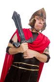 Gladiator holding sword isolated on white — Stock Photo