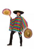Handsome man in vivid poncho isolated on white — Stock Photo