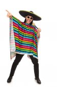 Handsome man in vivid poncho holding maracas isolated on white — Stock Photo