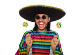 Handsome man in vivid poncho holding lollypop isolated on white — Stock Photo