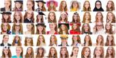 Collage of many faces from same model — Stock Photo