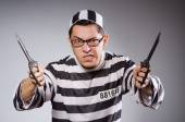 Funny prisoner with knuckles — Stock Photo