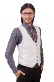Молодой человек в серую рубашку — Стоковое фото