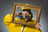 Man wearing yellow suit — Stock Photo