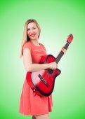 Female guitar player — Stock Photo