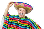 Young mexican with false moustaches — Stock Photo
