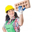 Female workman in green overalls — Stock Photo #79186024