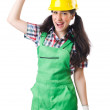 Female workman in green overalls — Stock Photo #79186034
