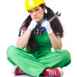 Female workman in green overalls — Stock Photo #79186042
