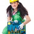 Female workman in green overalls — Stock Photo #79186046