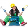 Female workman in green overalls — Stock Photo #79186050