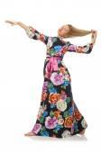 Flicka i lång blomma klänning — Stockfoto
