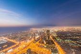Panoramy Dubaju noc — Zdjęcie stockowe