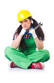 Female workman in green overalls — Stock Photo