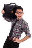 Young employee with briefcase isolated on white — Stock Photo