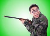 Funny soldier isolated on the white — Stock Photo