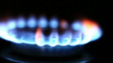 Gas burners in oven — Stock Video
