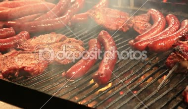 Sausages and shish kebabs — Stock Video