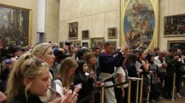 Audience near the picture of Mona Lisa — Stock Video