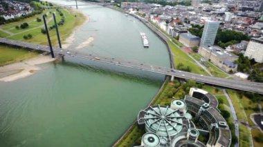 Aerial Panorama of the  Dusseldorf — Stock Video