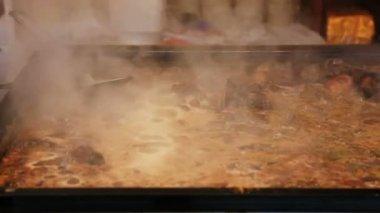 Dirty oily baking tray — Stock Video