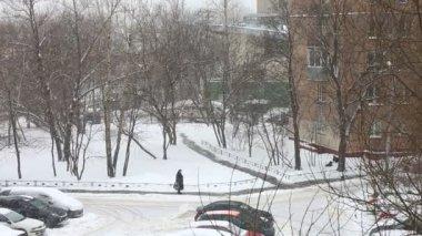 Heavy snowfall in  city — Stock Video