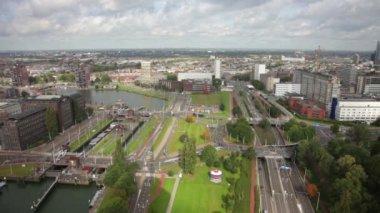 View of Rotterdam city — Stock Video