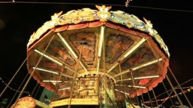 Carousel with wooden horses — Stock Video