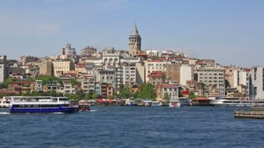 Galata region with historical Genoese Tower — Stock Video
