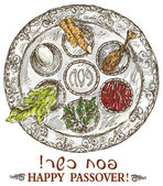Hand drawing passover plate — Vector de stock