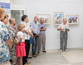 Opening of the exhibition of paintings — Stock Photo