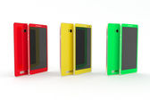 Smartphone, tablet. Red, yellow, green. White background. — Stock Photo