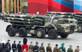 MOSCOW - 6 May 2010: Smerch RSZO - heavy multiple rockets launch — Stock Photo