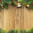 Decorated Christmas tree border on wood paneling — Stockfoto #58814801