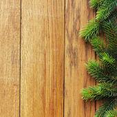 Decorated Christmas tree border on wood paneling — Stock Photo