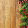Decorated Christmas tree border on wood paneling — Stock fotografie #60724043
