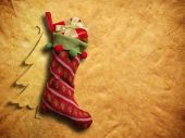 Christmas sock on paper background — Stock Photo