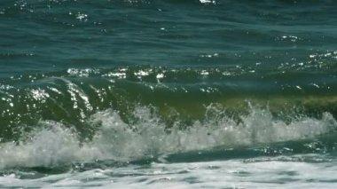 Turbulent water on  sandy coastline — Stock Video
