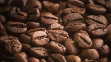 Roasted coffee beans rotating — Stock Video