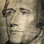 Постер, плакат: Alexander Hamiltons portrait on banknote
