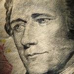 Постер, плакат: Alexander Hamiltons portrait on 10 banknote